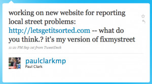 Tweet by Paul Clark MP about his new website LetsGetItSorted.com