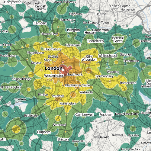 Mapumental map showing travel times to the Royal Festival Hall