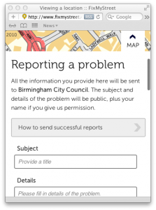 Mobile reporting form