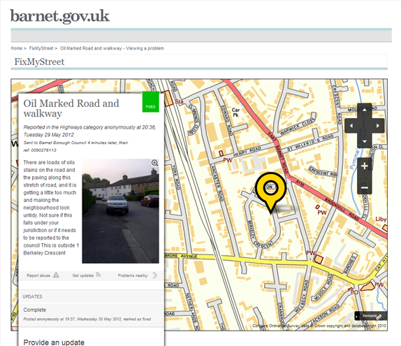 Report page from FixMyStreet on the Barnet council website