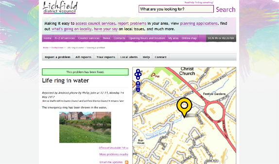FixMyStreet on the Lichfield District Council website