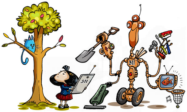 Cat up a tree and an Open311 robot