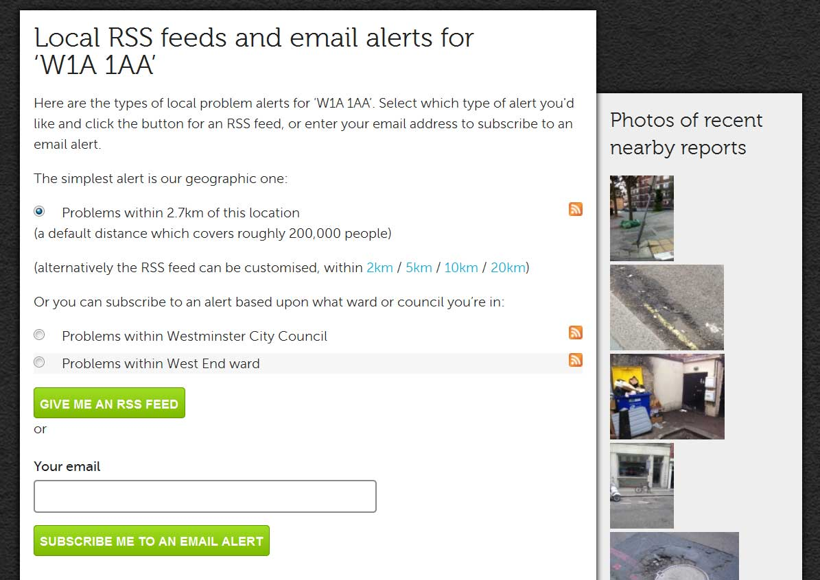 FixMyStreet rss and alerts sign-up