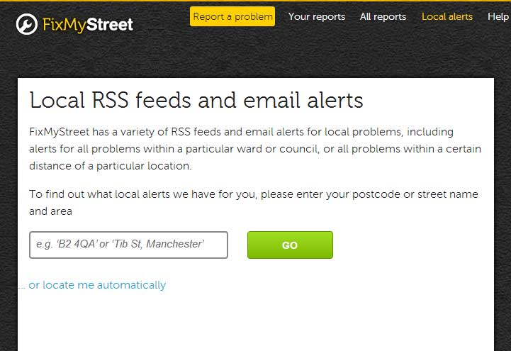 FixMyStreet rss-feeds