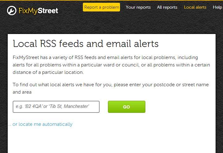 FixMyStreet rss-feeds