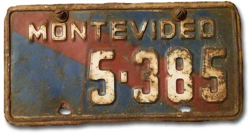 Uruguayan public transport license plate