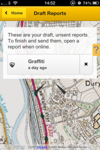 Draft reports on FixMyStreet app