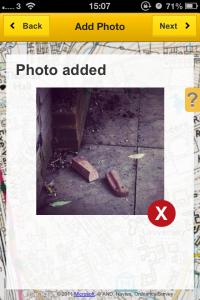 Add photo on FixMyStreet app