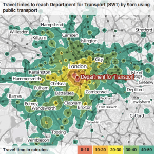 New map of London showing travel times to work at the Department for Transport in Pimlico, arriving at 9am