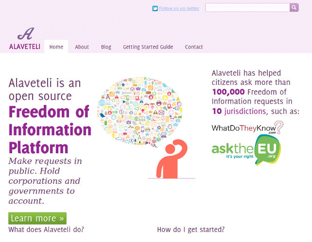 Screenshot of alaveteli.org