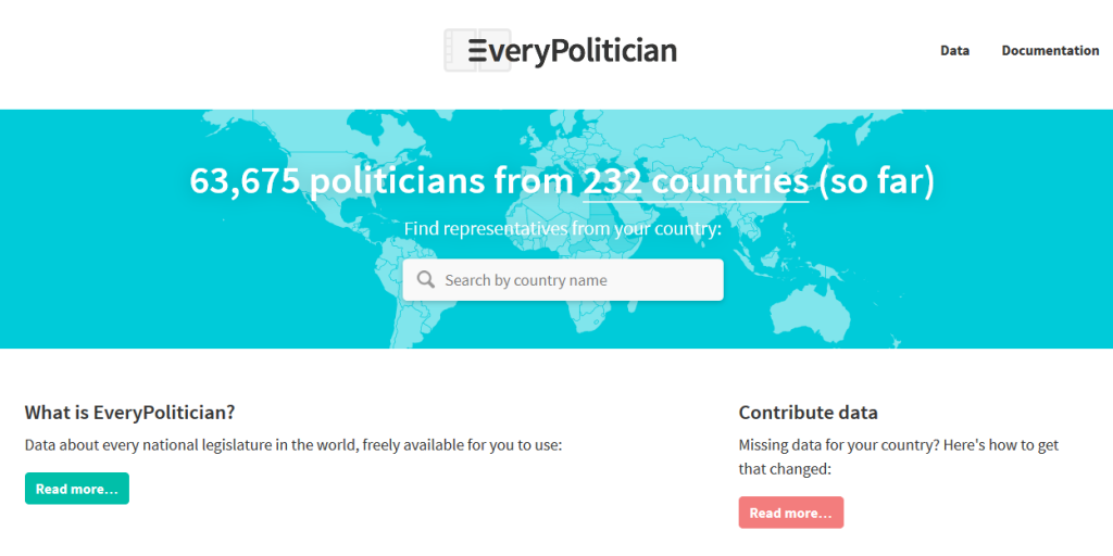 EveryPolitician homepage