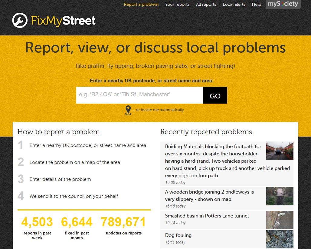 FixMyStreet homepage