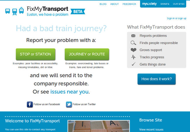 Screenshot of FixMyTransport.com