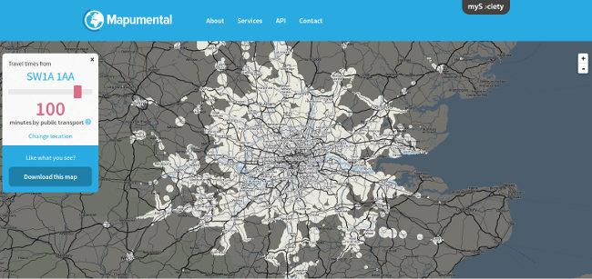Screenshot of an interactive Mapumental map