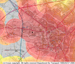 Map of Cambridge showing times of departure to reach the West Cambridge site by 9 o'clock on a weekday morning