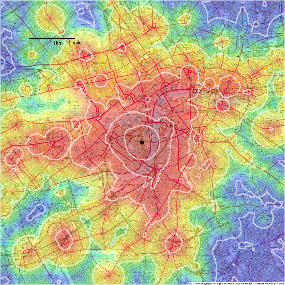 Traveltime Maps And Their Uses MySociety - Contour maps online uk