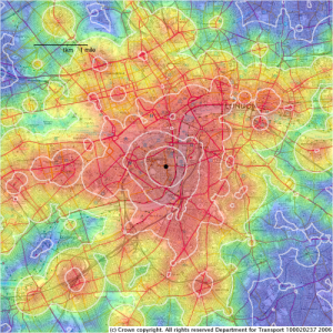 Map of central London showing times of departure to reach the Department for Transport building by 9 o'clock on a weekday morning