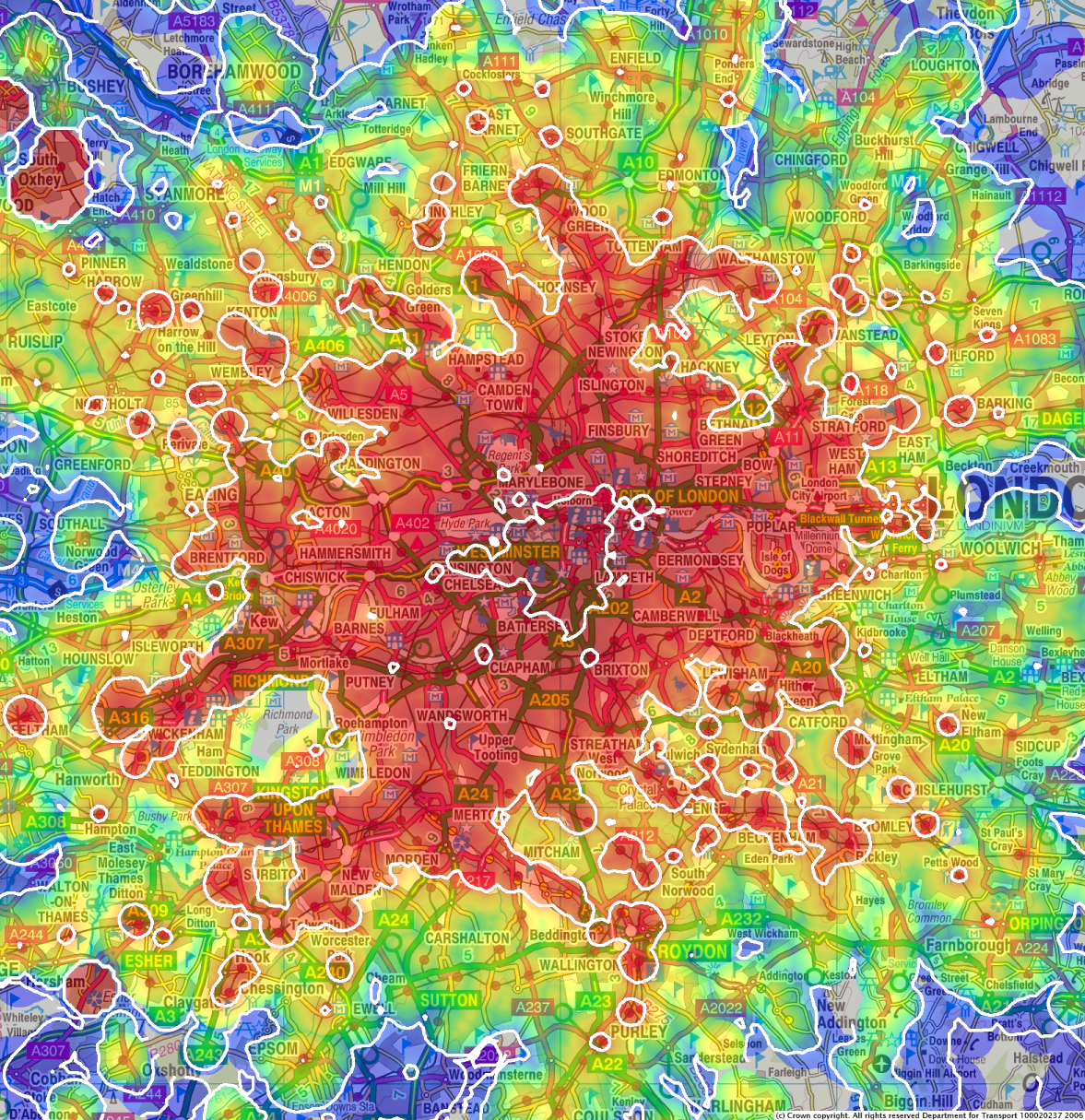 London And Surrounding Areas Map.Travel Time Maps And Their Uses Mysociety