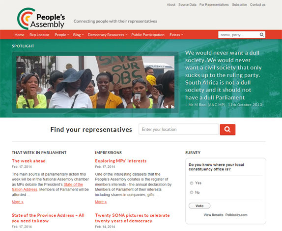 Screenshot of the South African Pombola website, People's Assembly