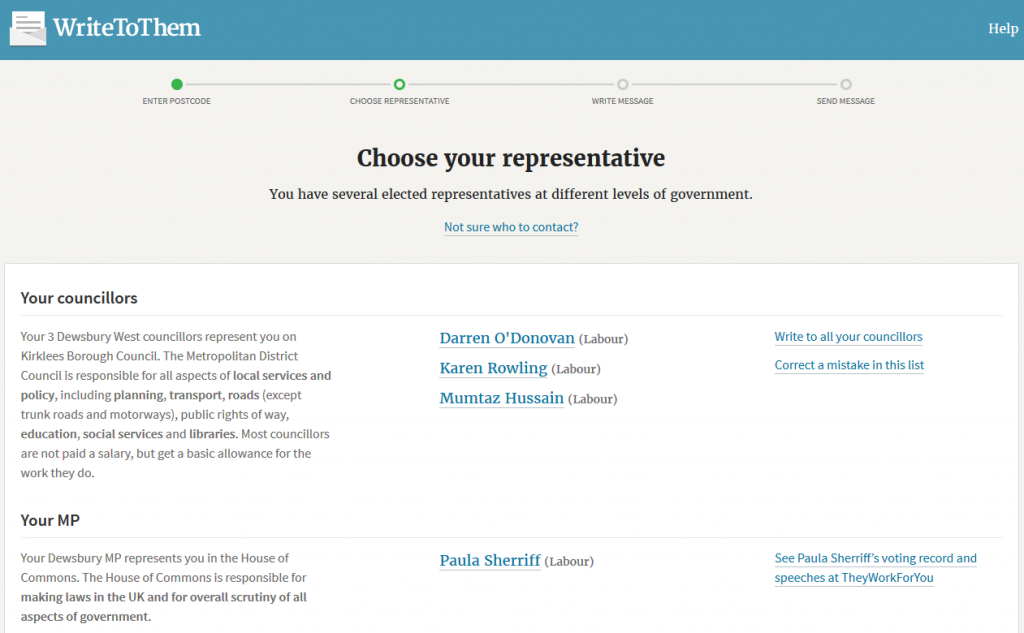 WriteToThem invites you to pick which representative you'd like to contact.