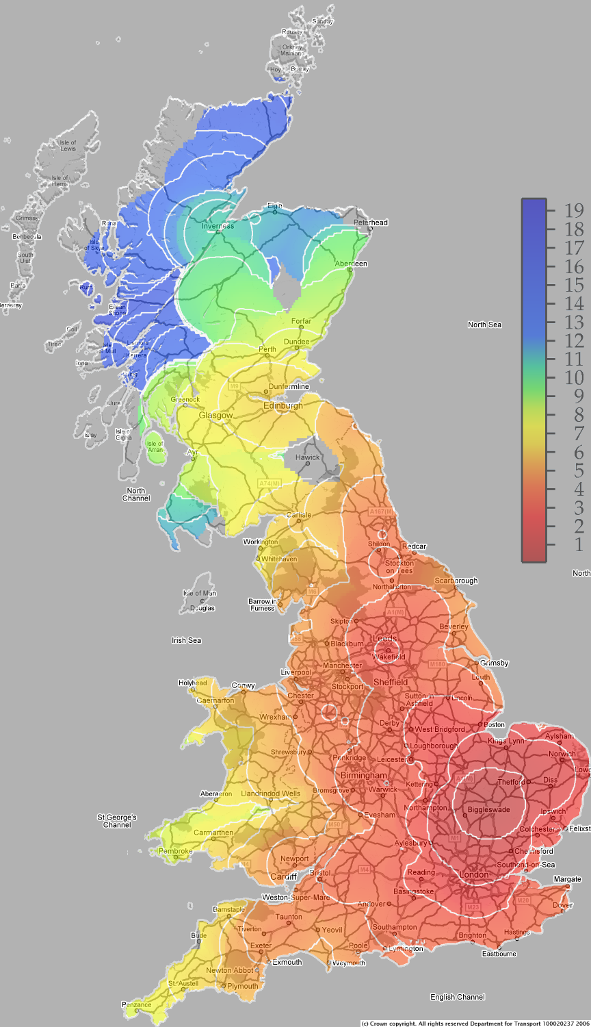 map showing travel times by rail and taxi from cambridge to other points in great britain