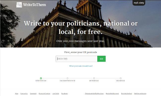 Screenshot of WriteToThem.com