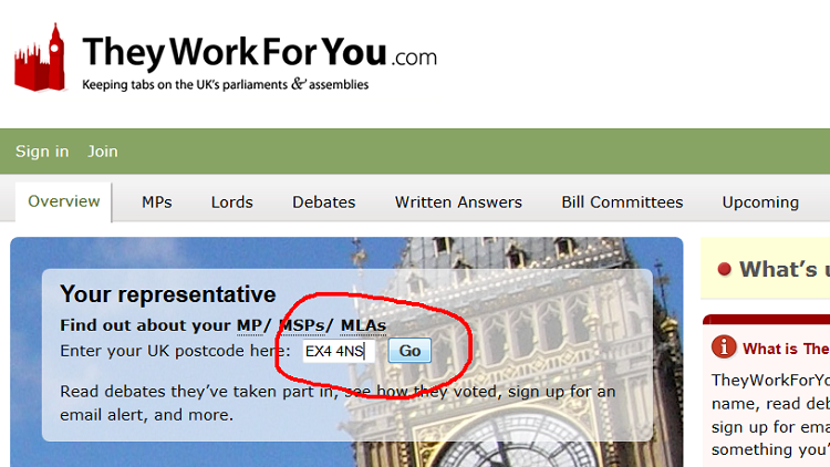 Input postcode on TheyWorkForYou homepage