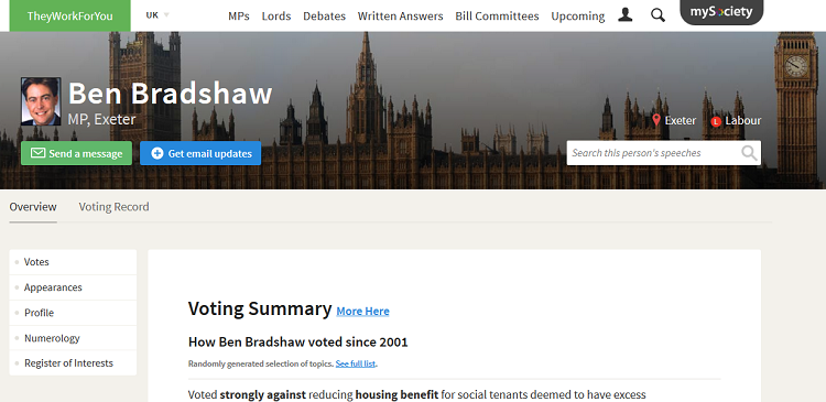 An MP's page on TheyWorkForYou