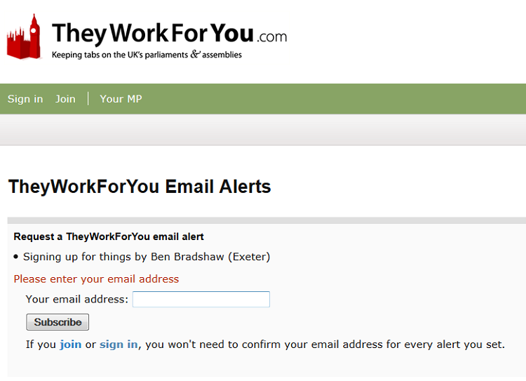 signing up for alerts from TheyWorkForYou