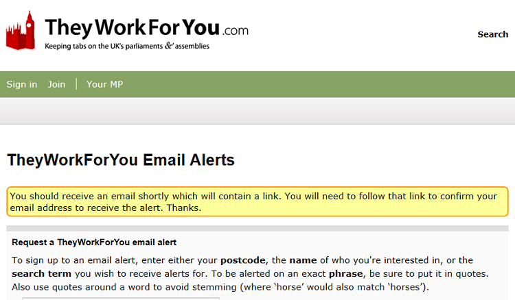 Confirm alert by email on TheyWorkForYou