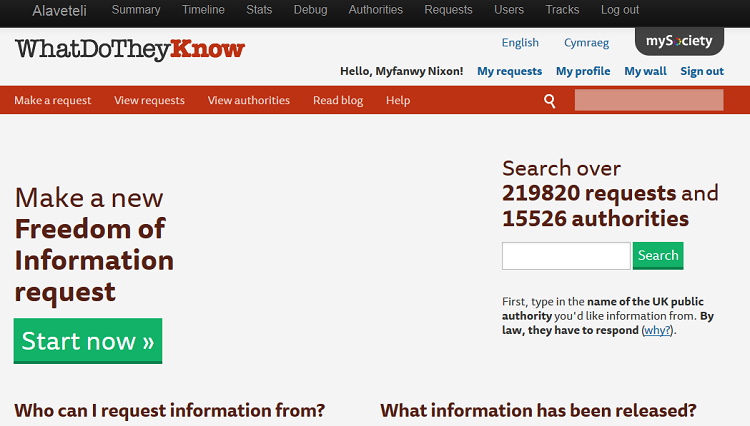 WhatDoTheyKnow homepage