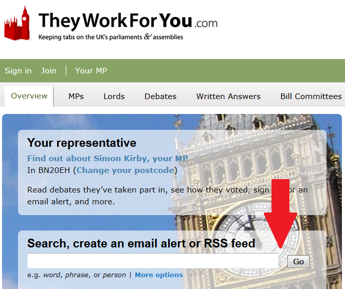 Search box on TheyWorkForYou