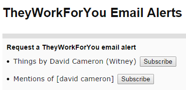 David Cameron alerts options