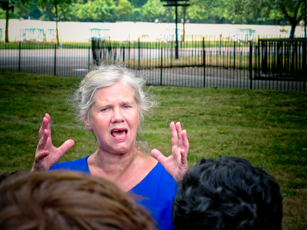 A woman speaking at Speaker's Corner in Hyde Park. Image by Bauke Karel