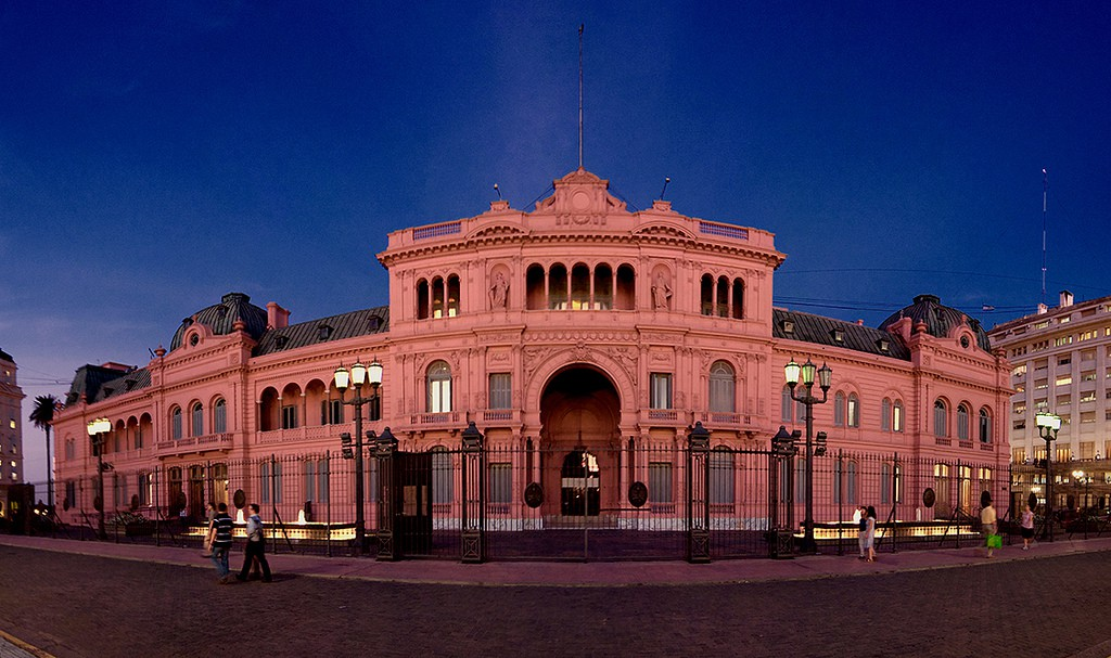 Image by Ryan Poole. Facade of la Casa Rosada in Buenos Aires, at twilight