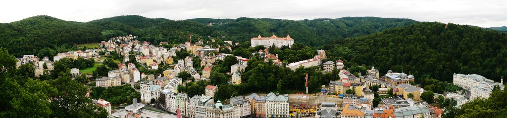 Karlovy Vary in the Czech Republic - panormaic image showing buildings and trees