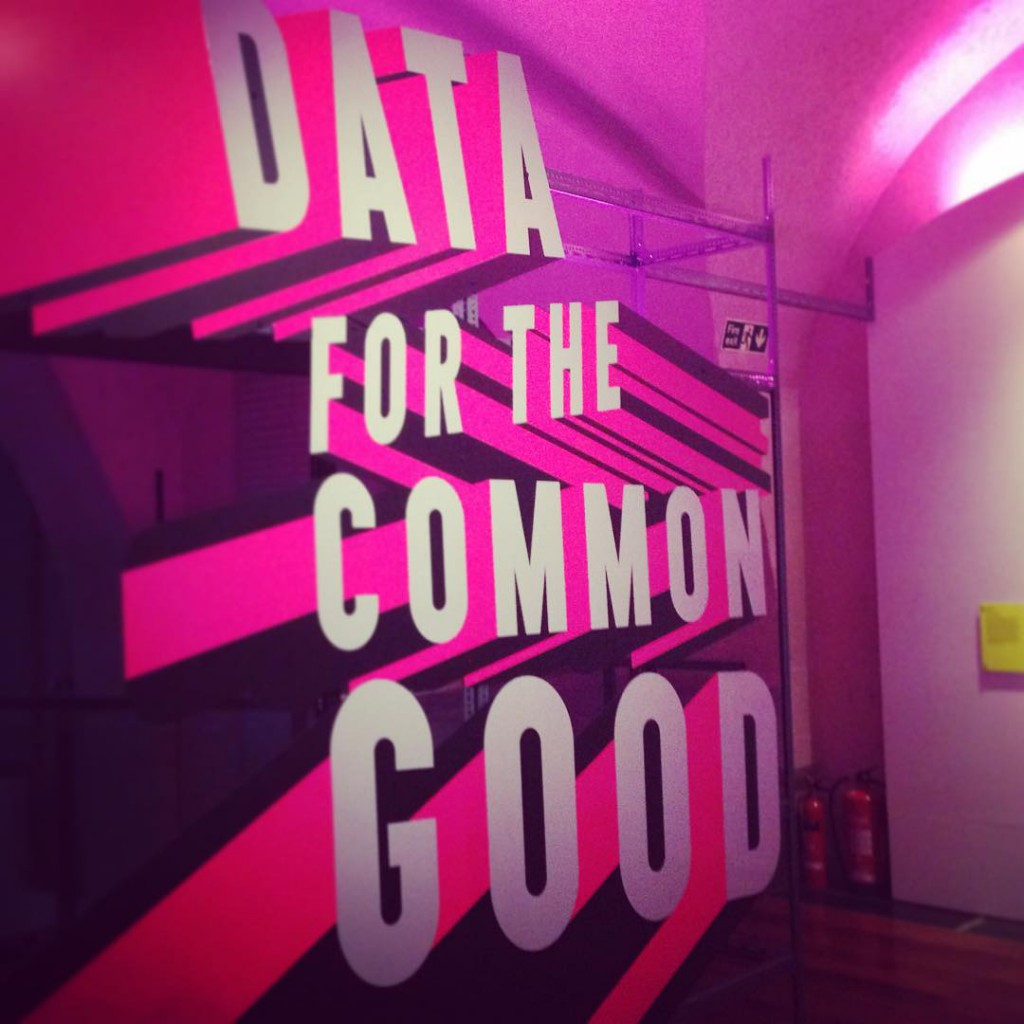 Data for the common good - a sign at the Big Bang Data exhibition at Somerset House