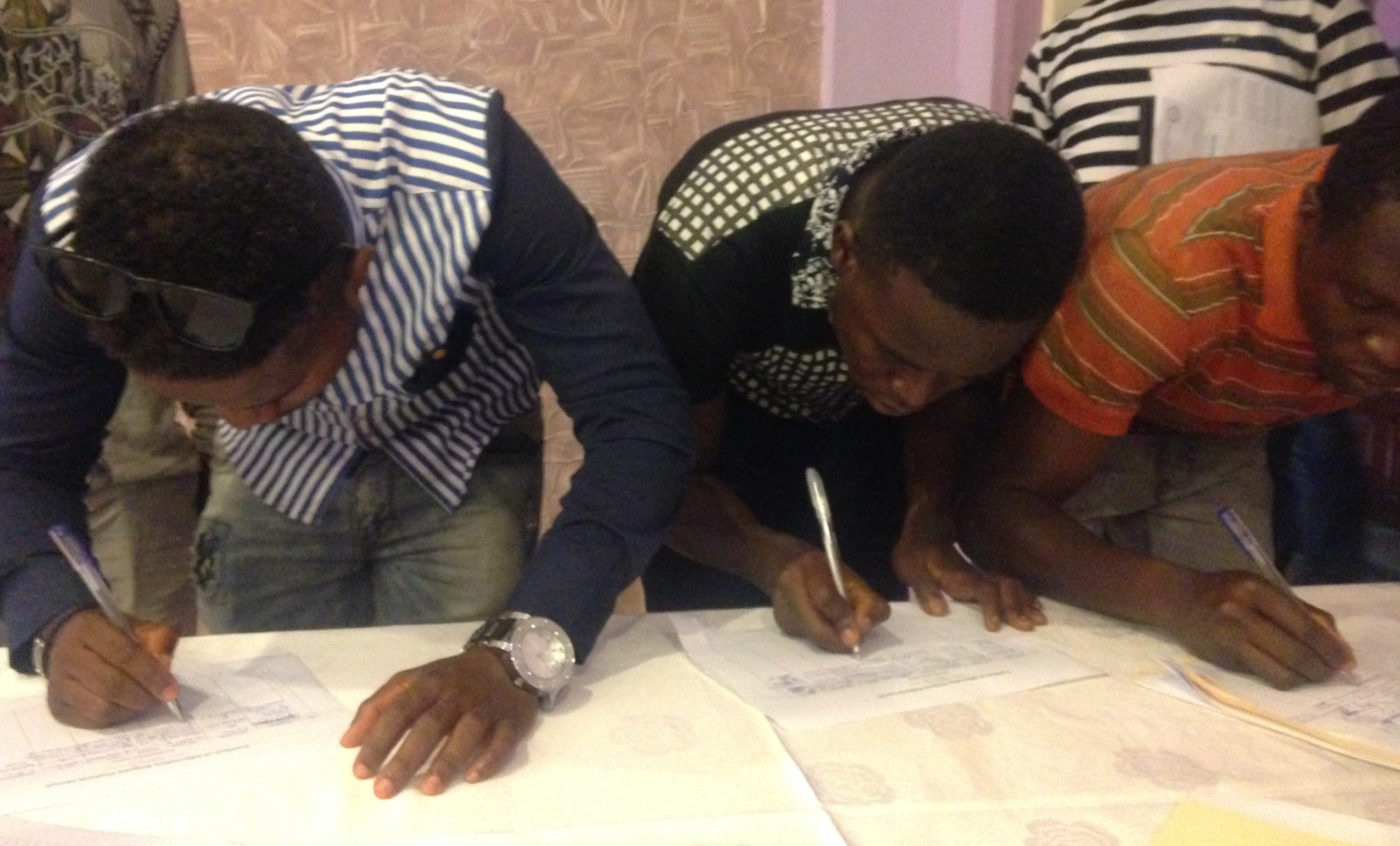 Liberians making freedom of information requests at the launch of InfoLib Liberia