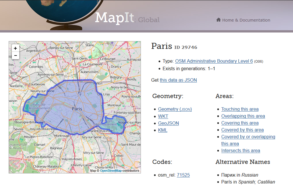 Paris on MapIt