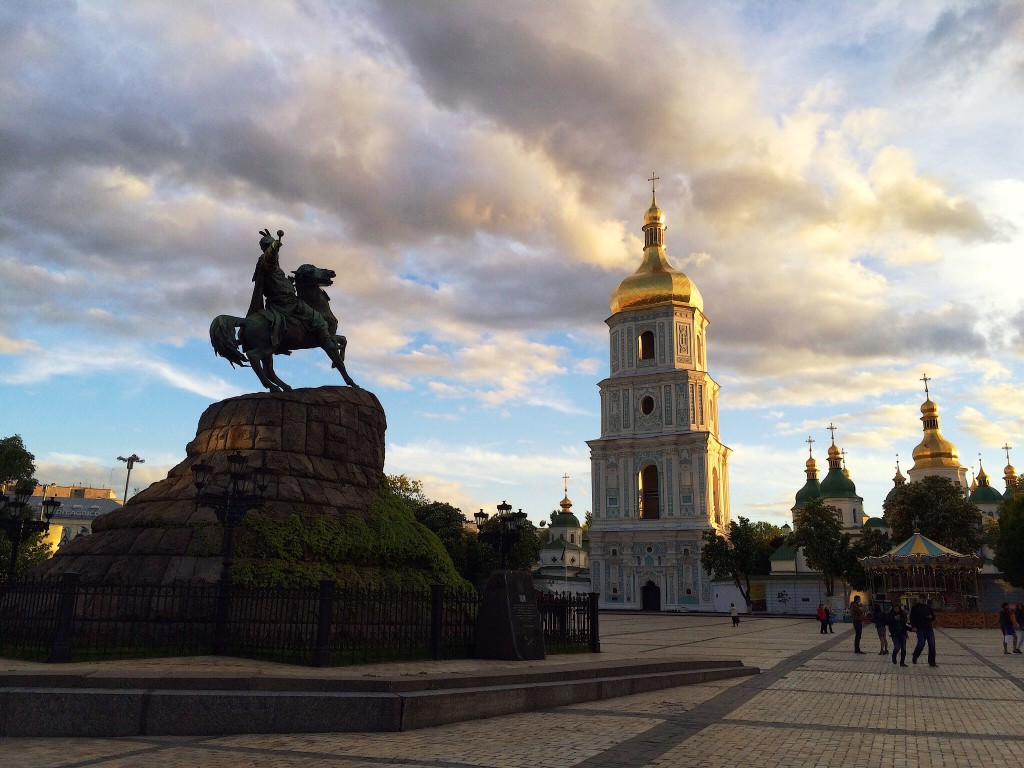 Image by Elena Penkova - Sophia Square and the golden-roofed cathedral in Kiev, Ukraine, against a cloudy sky