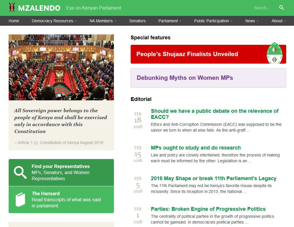 Homepage of Mzalendo