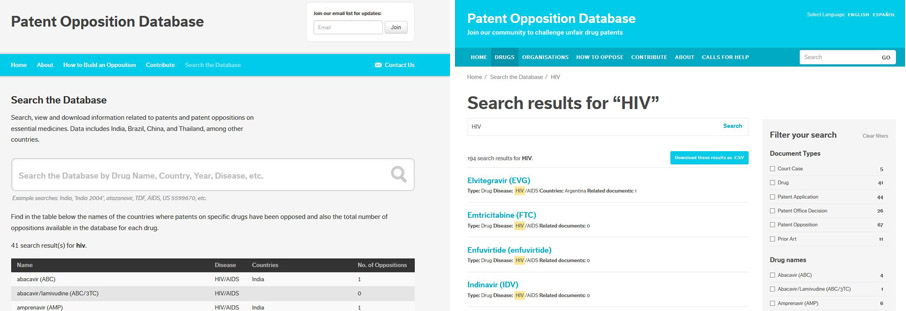 Patents Opposition Database search before and after