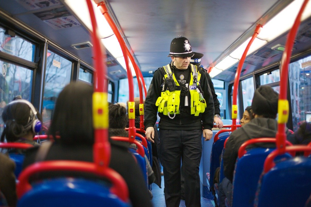 Image by West Midlands Police: transport police patrol a bus