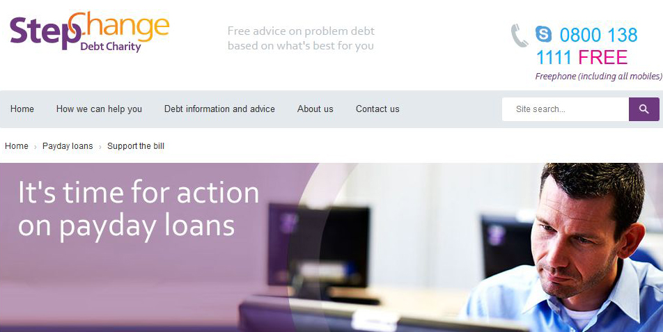 Debt charity Stepchange's website graphic against payday loans