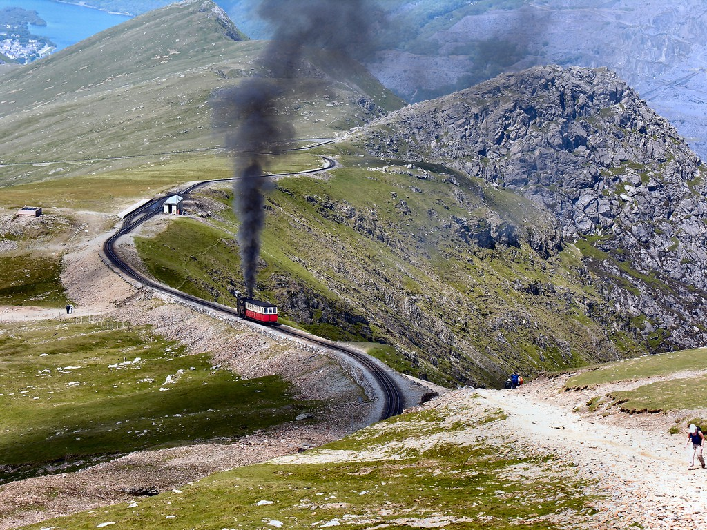 A train in the Snowdon Mountain Railway departing Clogwyn Station. By Denis Egan