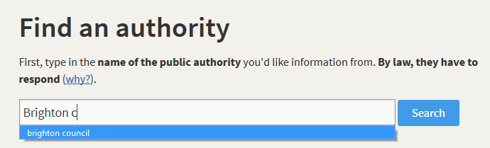 Searching for an authority on WhatDoTheyKnow