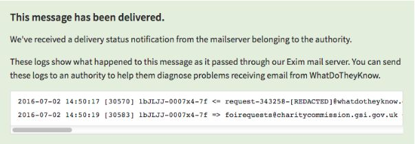 Exmple of a user's view of the mailpath on WhatDoTheyKnow