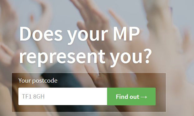 Where to input your postcode on the TheyWorkForYou homepage