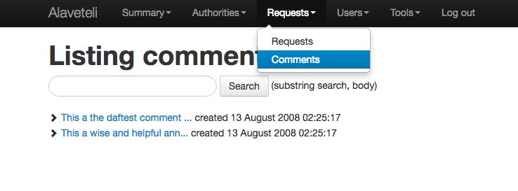 Alaveteli Release 0.26 admin comments page