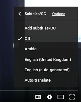 language menu for subtitles on youtube